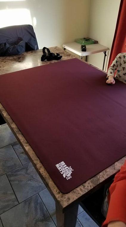 burgundy dining table gaming mat