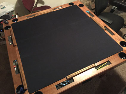 custom neoprene gaming mat in wood gaming table