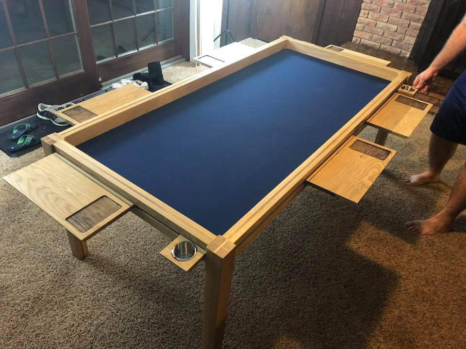 blue custom gaming mat in recessed gaming table