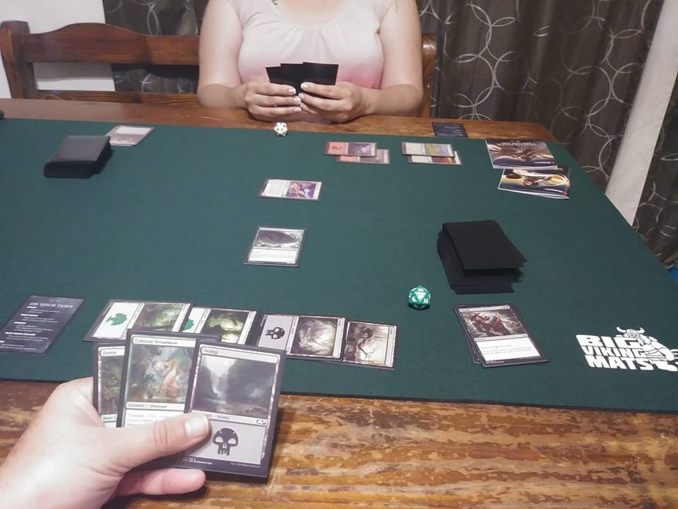 magic the gathering on green custom mat gaming