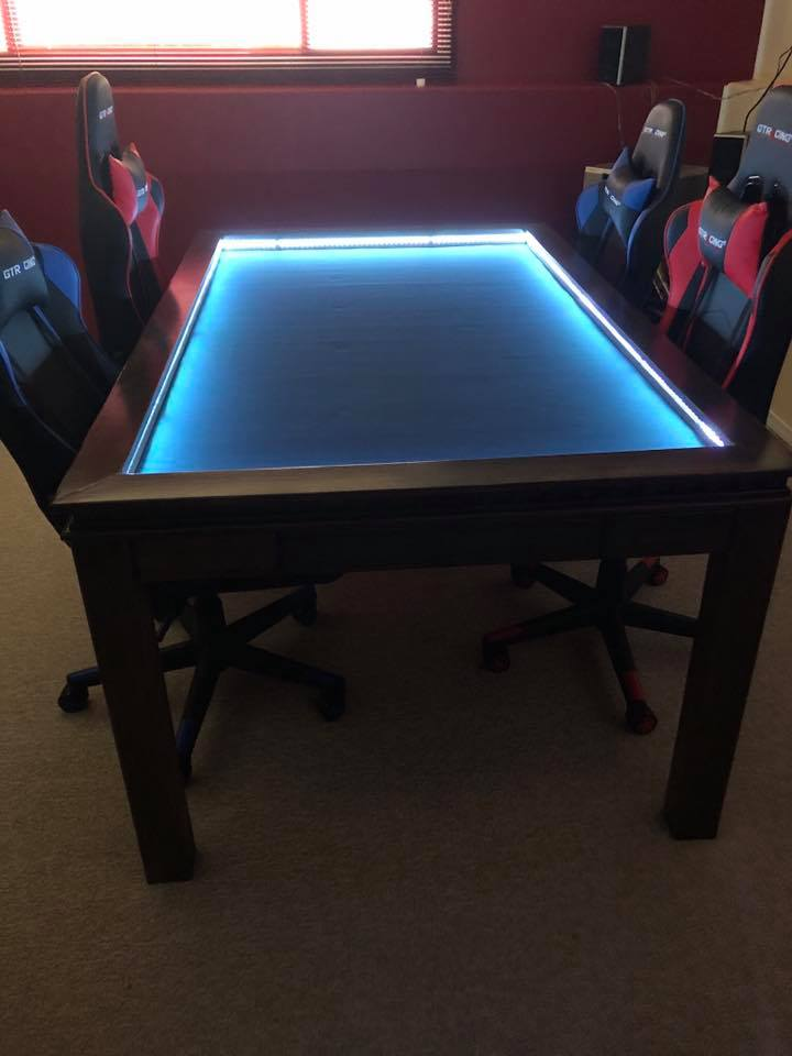 illuminated cuatom gaming mat in recessed table