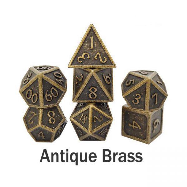 metal gaming dice antique brass