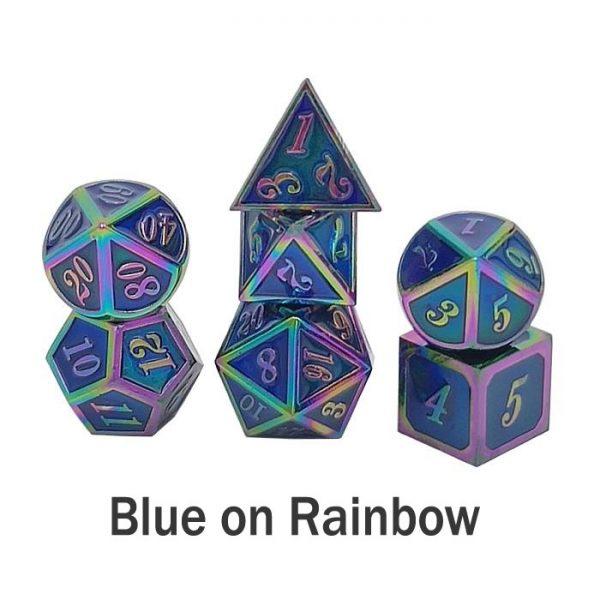 metal gaming dice blue rainbow