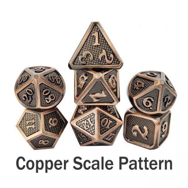 metal gaming dice dragonscale copper