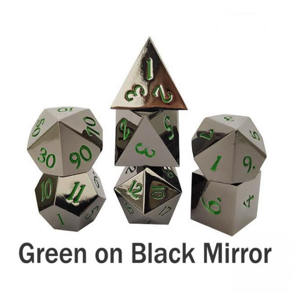 metal gaming dice green on black gloss