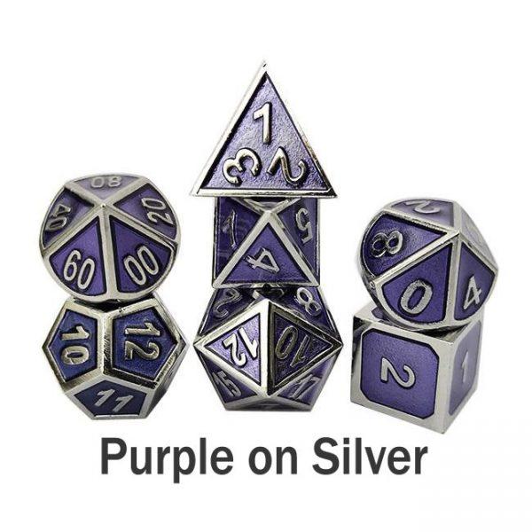 metal gaming dice purple silver