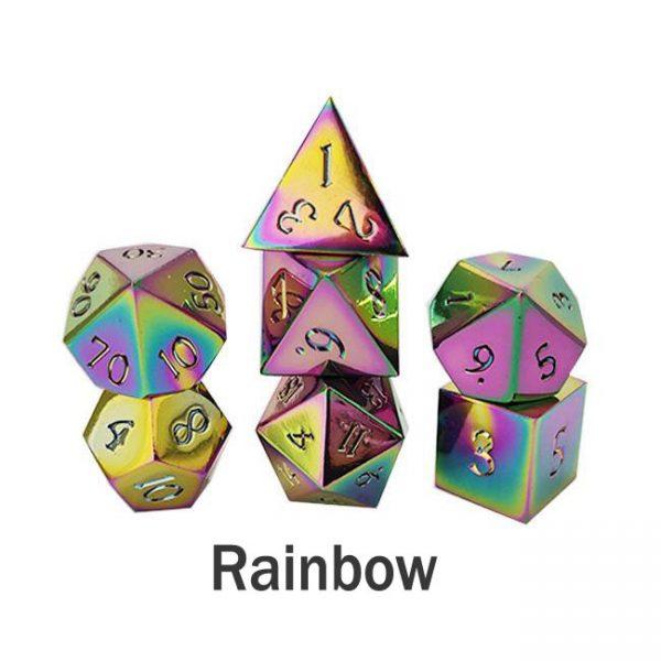 metal gaming dice rainbow