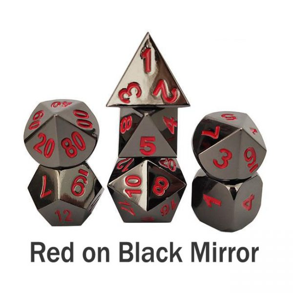 metal gaming dice red on black gloss