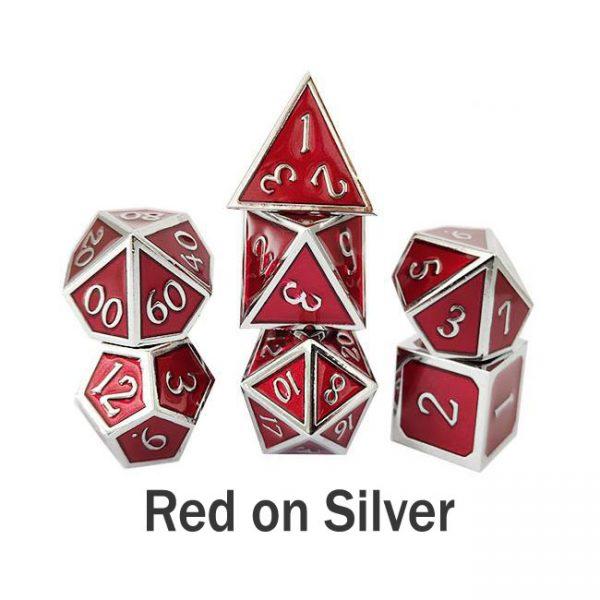 metal gaming dice red silver