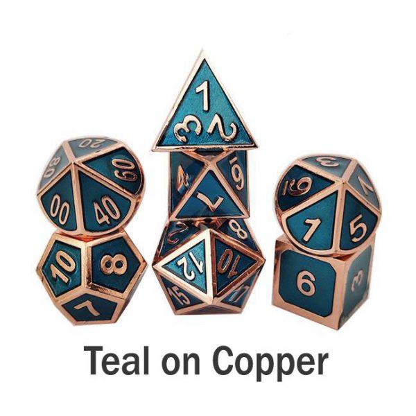 metal gaming dice teal copper
