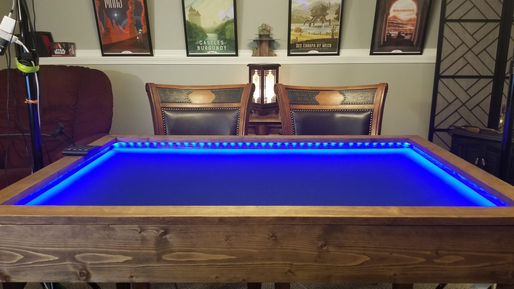 custom table with gaming mat lights