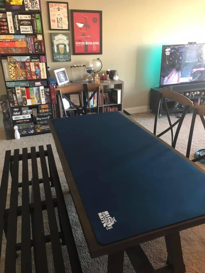folding table blue gaming mat
