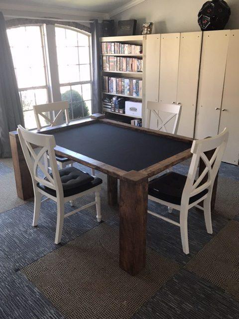 gaming mat in custom wood table