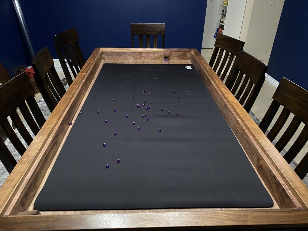 boardgaming custom mat with dice